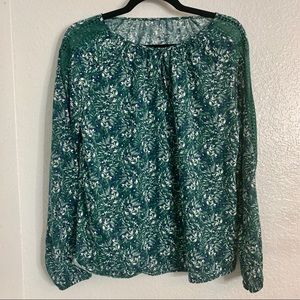 St. Johns Bay Green Floral Blouse S
